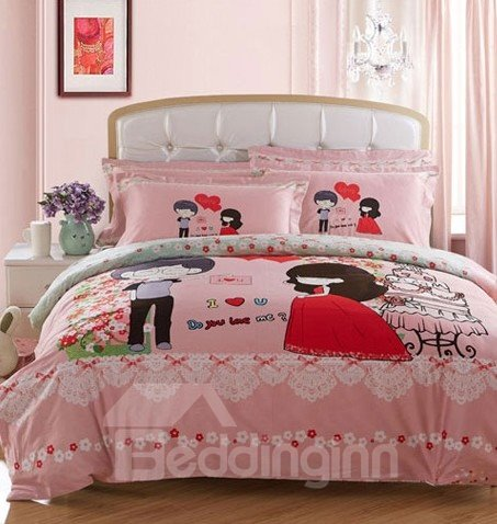 Forever Love Bride and Groom Print 4-Piece Wedding Duvet Cover Sets