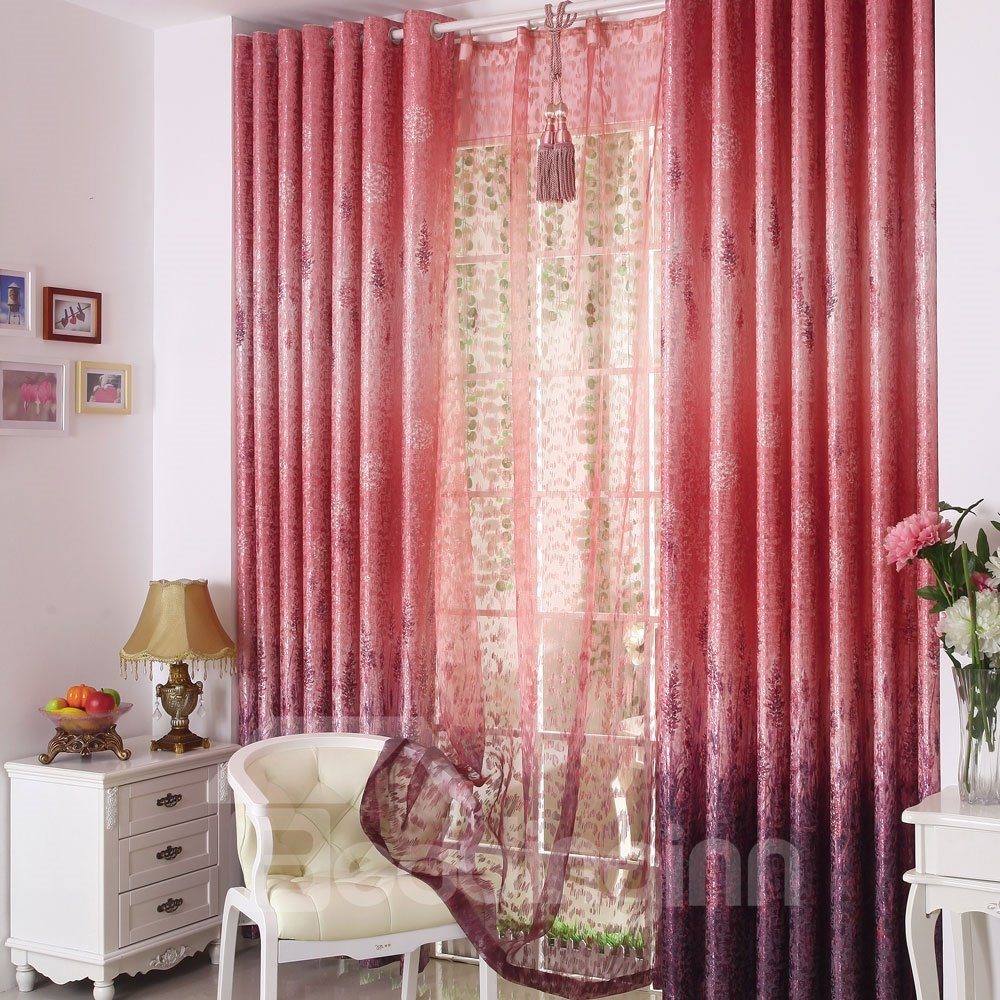 Romantic Red Lavender Pattern Custom Grommet Top Curtain