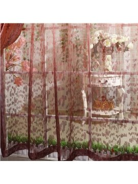 Romantic Elegant Red Pleated Custom Sheer Curtain