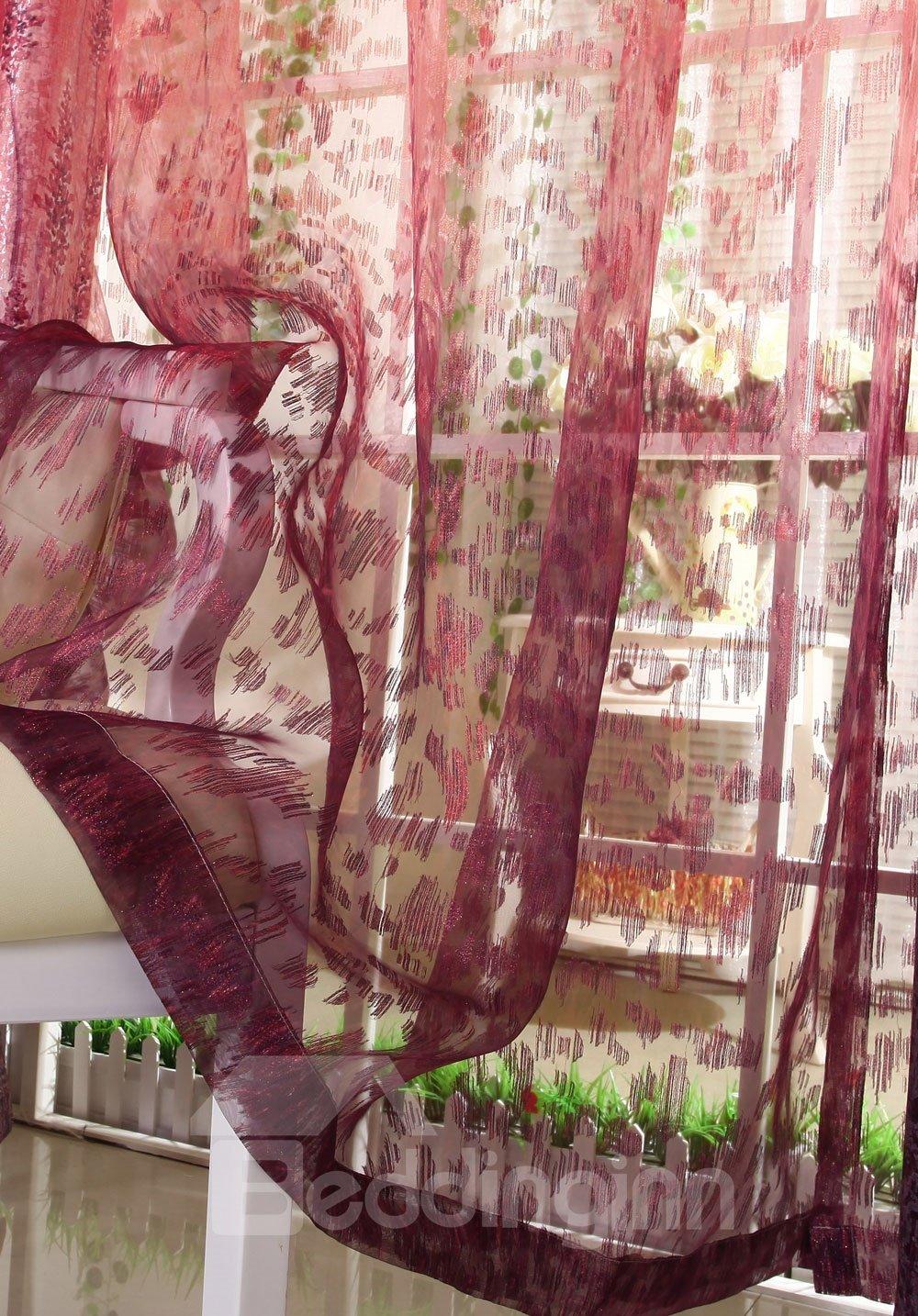 Romantic Elegant Red Pleated Custom Sheer Curtain