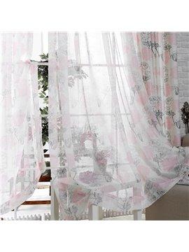 Fresh and Light Pink and Black Flower Custom Sheer Curtain