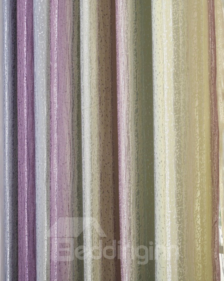 Stylish Vertical Bar Triple Color Scheme Grommet Top Curtain