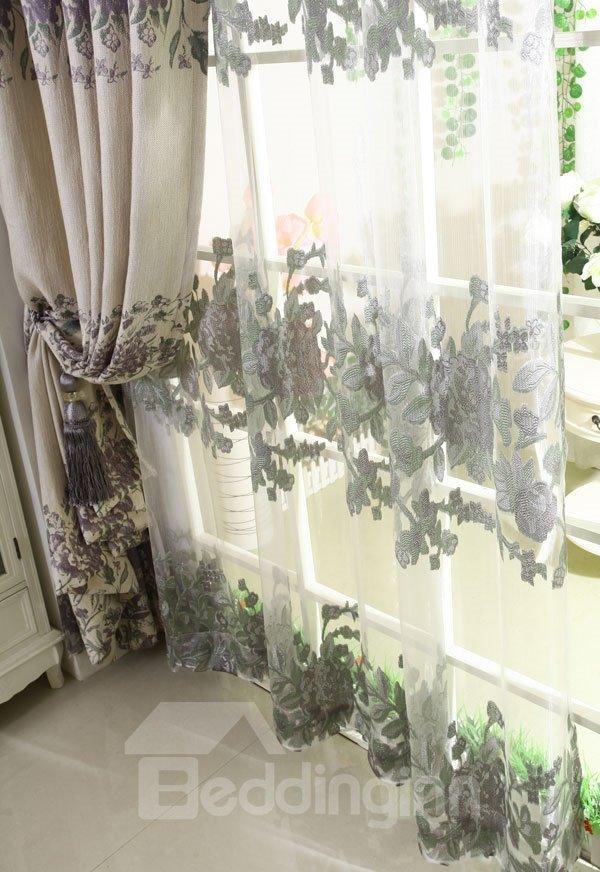 New Style Peony Flower Pattern Grommet Top Custom Sheer Curtain