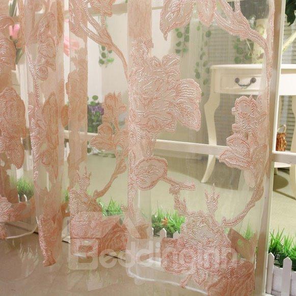 Elegant Burnout Flower Pink One Piece Custom Sheer Curtain