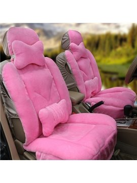 Cozy Solid Color and Short Plush Car Seat Cover