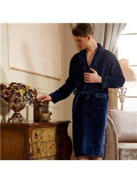 High Quality Fashion Elegant Deep Blue Male Bathrobe