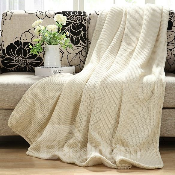 Quality Fancy Contracted Design White Thick Wool Blanket