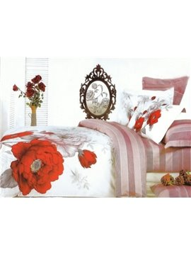 Charming Red and White Peony Print 4-Piece Cotton Duvet Cover Sets
