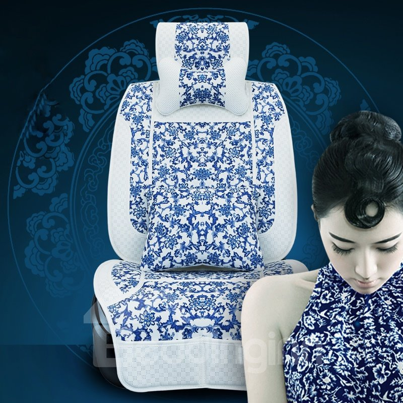 Classic Blue and White Porcelain Style Car Seat Cover