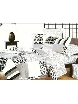 Modren Life Leopard and Circle Print 4-Piece Cotton Duvet Cover Sets
