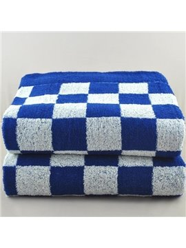 Fashion Elegant Deep Blue Checks Design Full Cotton Bath Towel