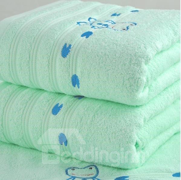 Cute Cartoon Frog Printing Full Cotton Bath Towel for Children