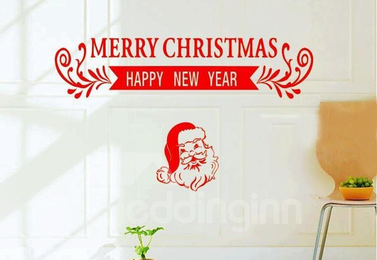 New Style Red Banner Design Christmas Gift Wall Stickers