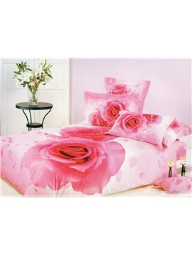 Pretty Pink Rose Print 4-Piece Duvet Cover Sets