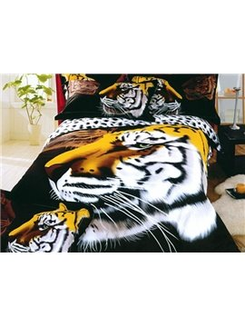 King of Forest Print 4-Piece Cotton Duvet Cover Sets