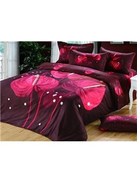 Elegant Red Calla Lily Print 4-Piece Cotton Duvet Cover Sets