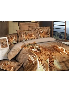 Awesome Leopard Print 4-Piece Cotton Duvet Cover Sets