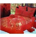 Luxury Red Flower Print 4-Piece Cotton Wedding Duvet Cover Sets
