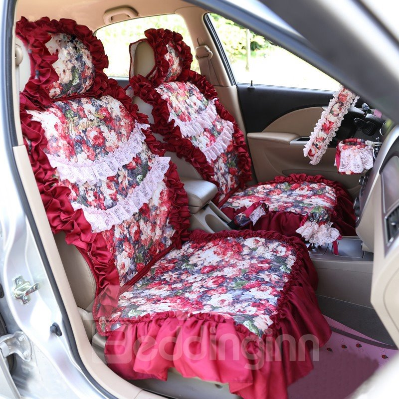 New Style Lace Border and Flower Pattern Car Seat Cover