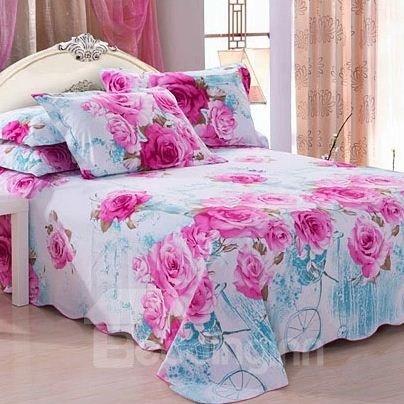 Gorgeous Elegant Rose Print Full Cotton Sheet