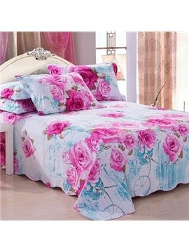 Gorgeous Elegant Rose Print Full Cotton Sheet