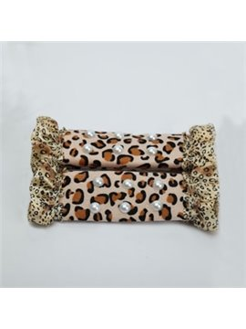 Unique Leopard Border And White Balls Car Seat Belt Cover