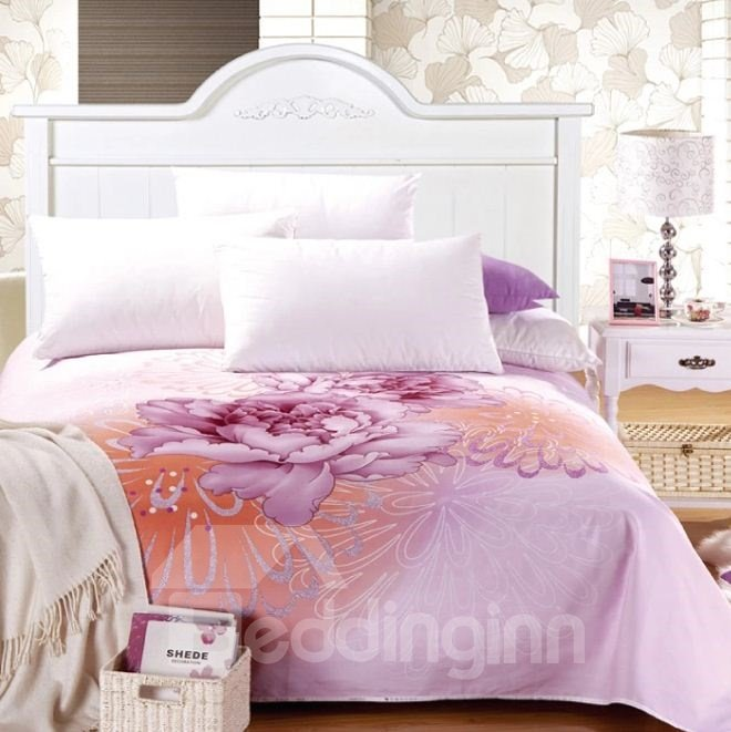 Splendid Vibrant Peony Print Full Cotton Sheet