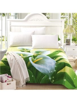 Fancy Dew on Lily Print Full Cotton Sheet