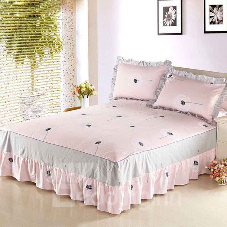 Cozy Light Pink and Taraxacum Pattern Bed Skirt