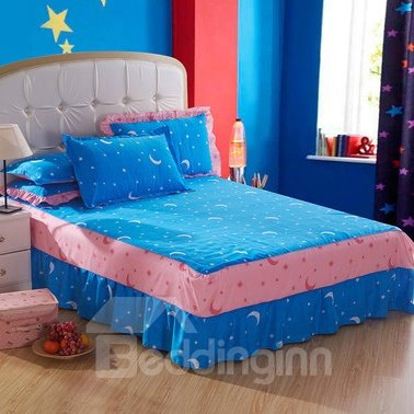 Amazing Moon and Stars Pattern Bed Skirt