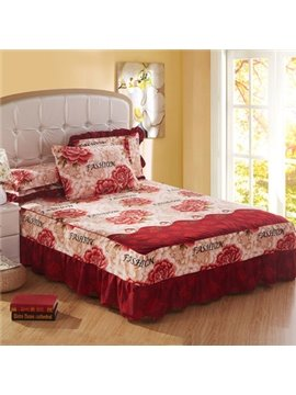 Fashion Red Rose and Fashion Letter Bed Skirt