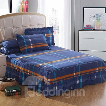 New Style Colored Lines Green Bed Skirt