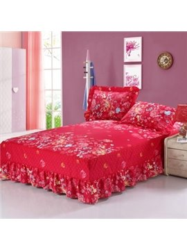 Romantic Joyous Red and Flower Wedding Bed Skirt