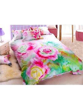 Beautiful Oil Painting Flower Print 4-Piece Cotton Duvet Cover Sets