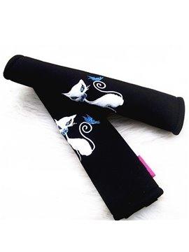 Charming Black Fox Blue Eyes Car Seat Belt Cover