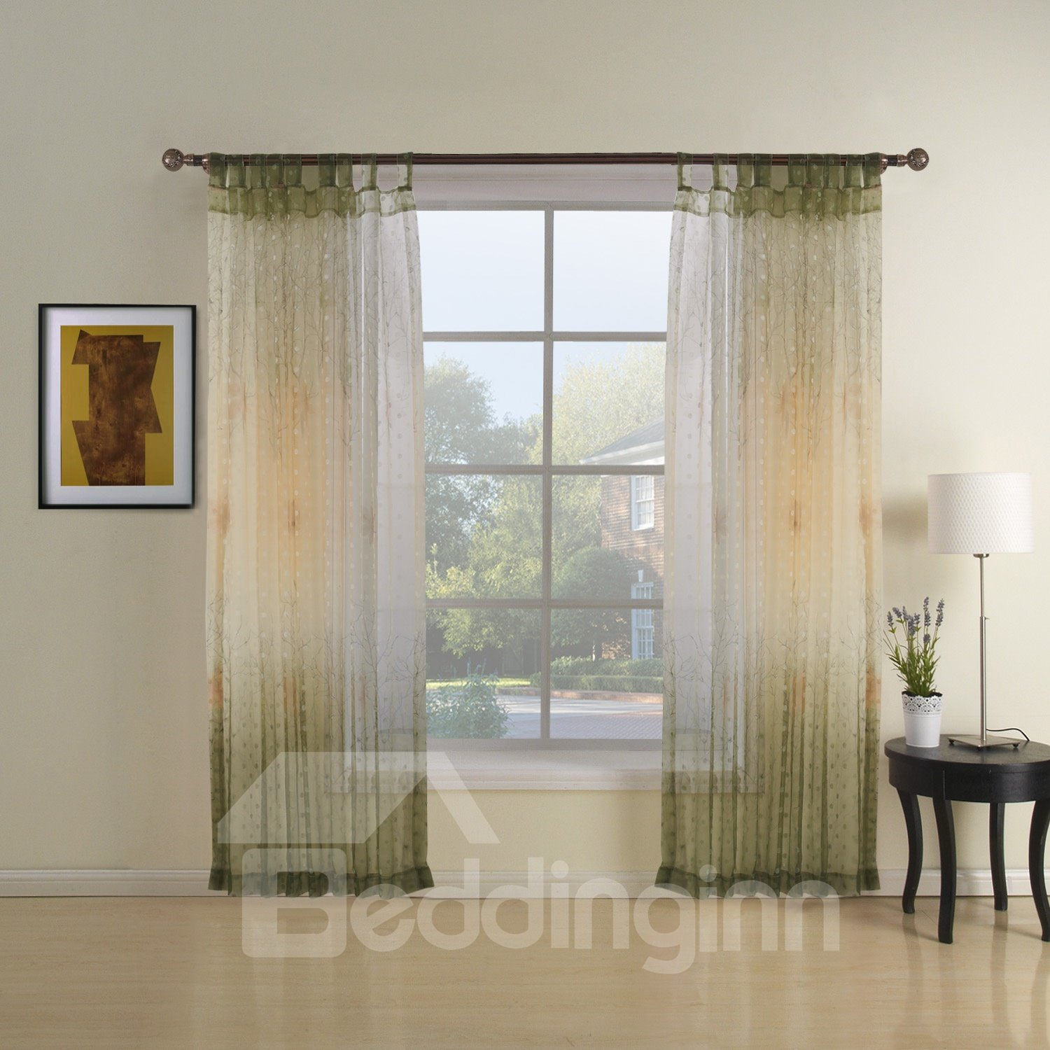 Amazing Green Tree Printing Two Pieces Custom Sheer Curtain