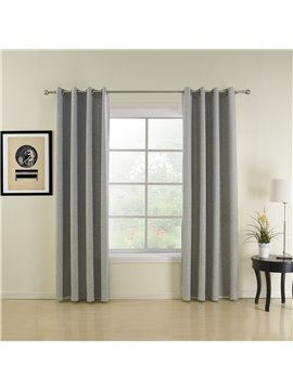 Gorgeous Amazing Gray Coarse Linen  Custom Grommet Top Curtain