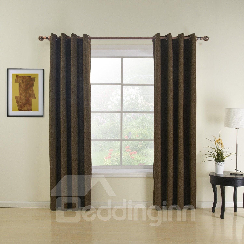 Best Quality Dark Brown Grommet Top Custom Curtain