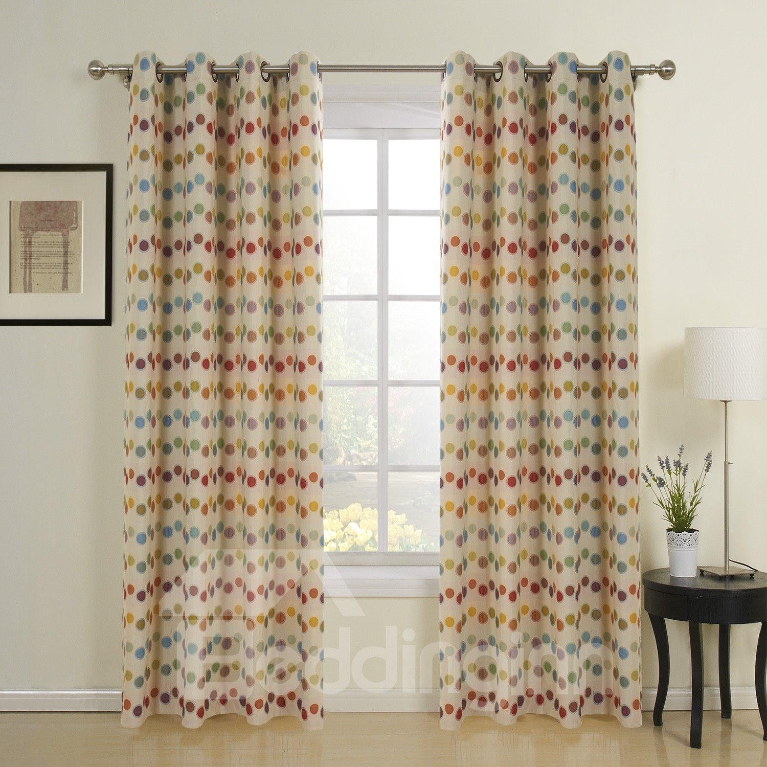 Modern Simple Fashion Colorful Dots Two Pieces Custom Curtain