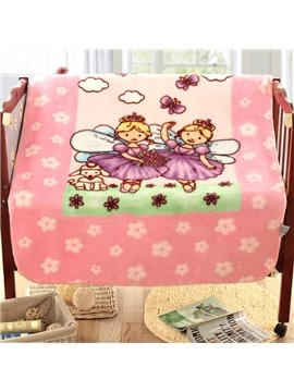 Lovely Two Beautiful Girls with Wings Pattern Children Blanket