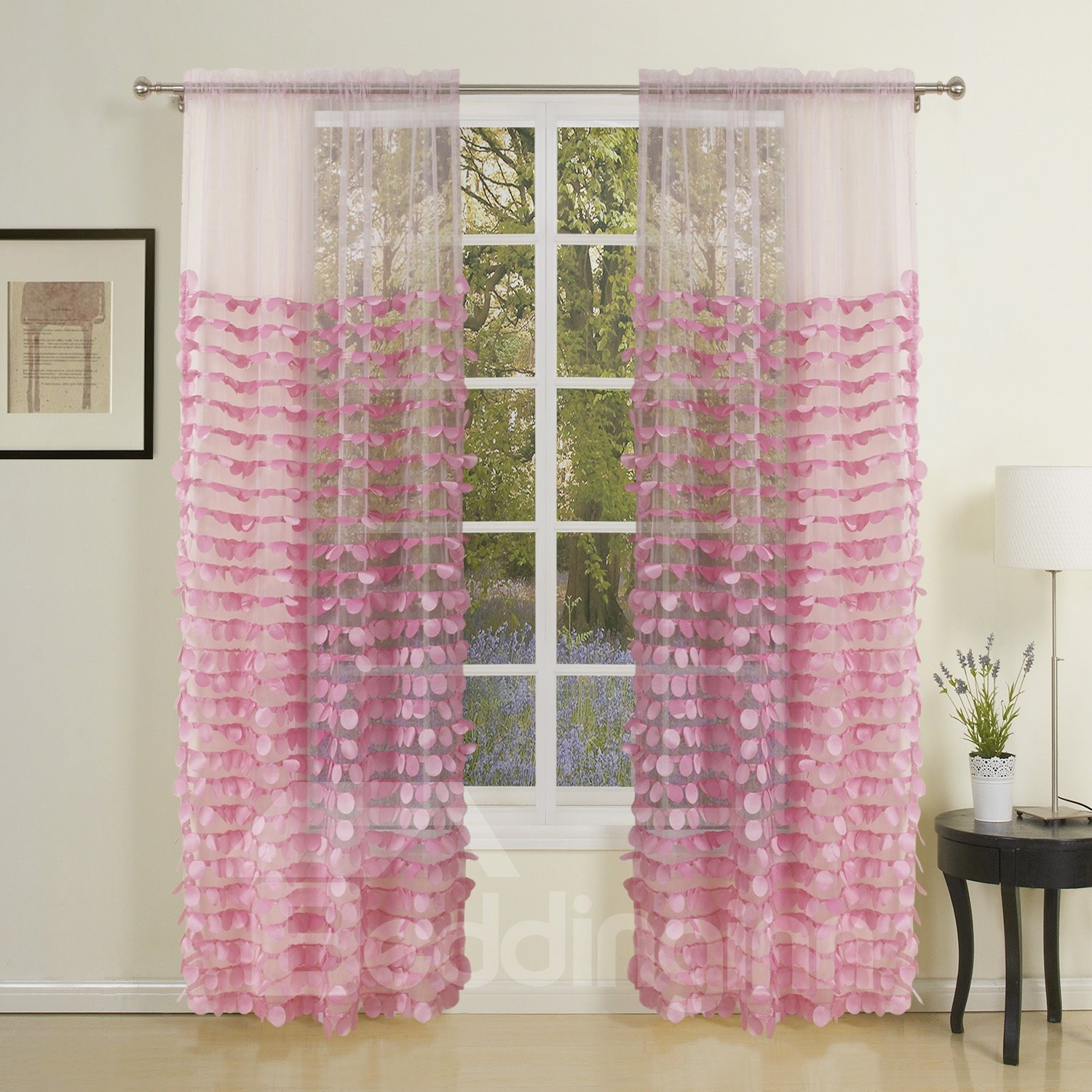 Pretty Korean Style Embroidery Custom Sheer Curtain