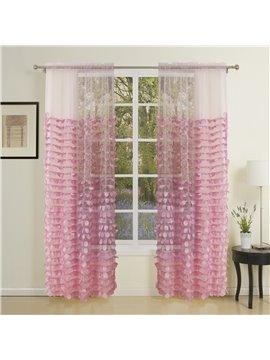 Pretty Korean Style Embroidery Custom Sheer Curtain