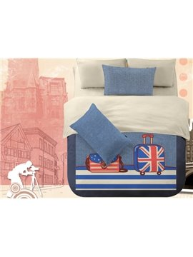 American Flag Luggage Print 4-Piece Polyester Duvet Cover Sets