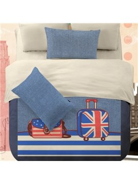 American Flay Luggage Print 4 Piece Polyester Duvet Cover Sets