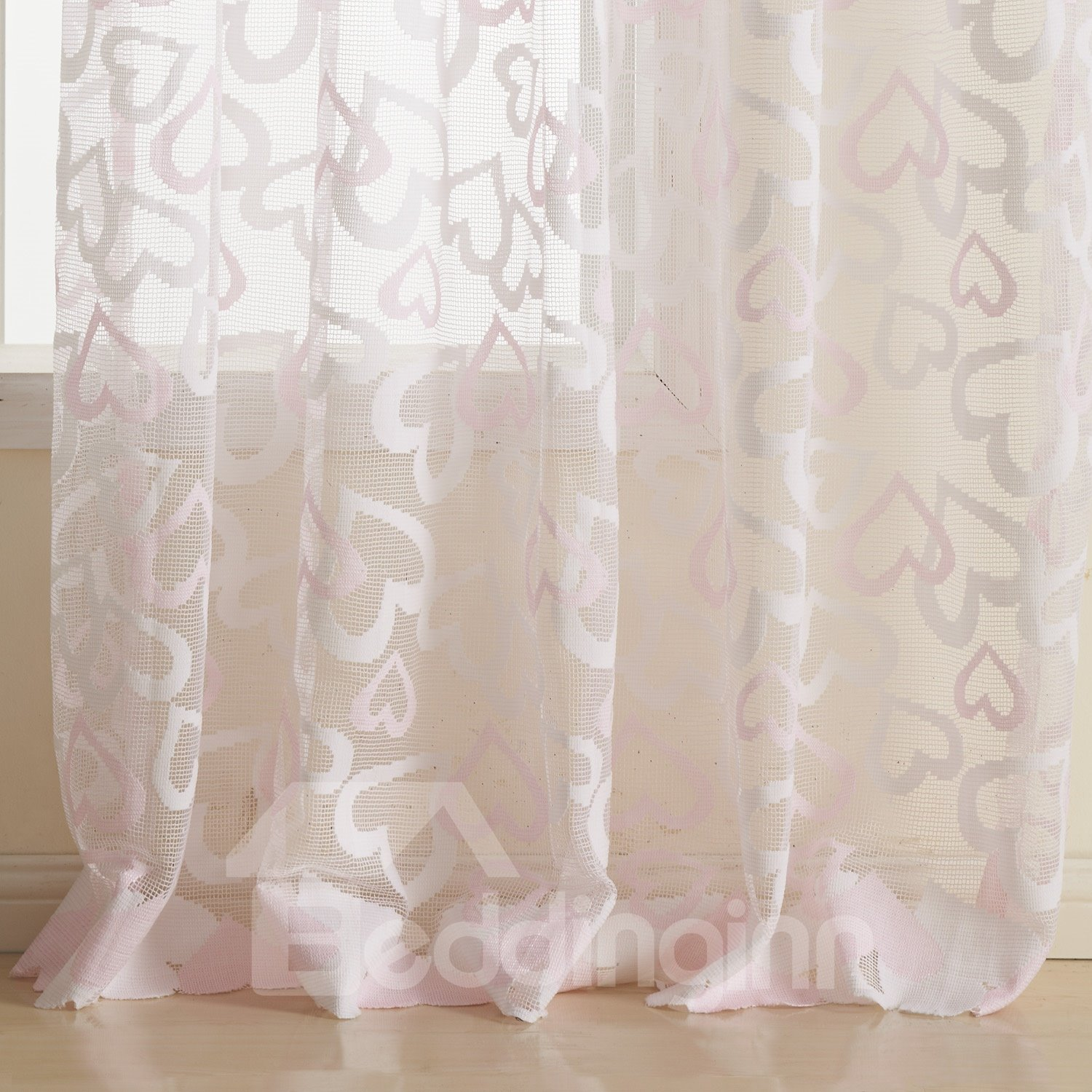 Lovely Pink Two Pieces Custom Sheer Curtain