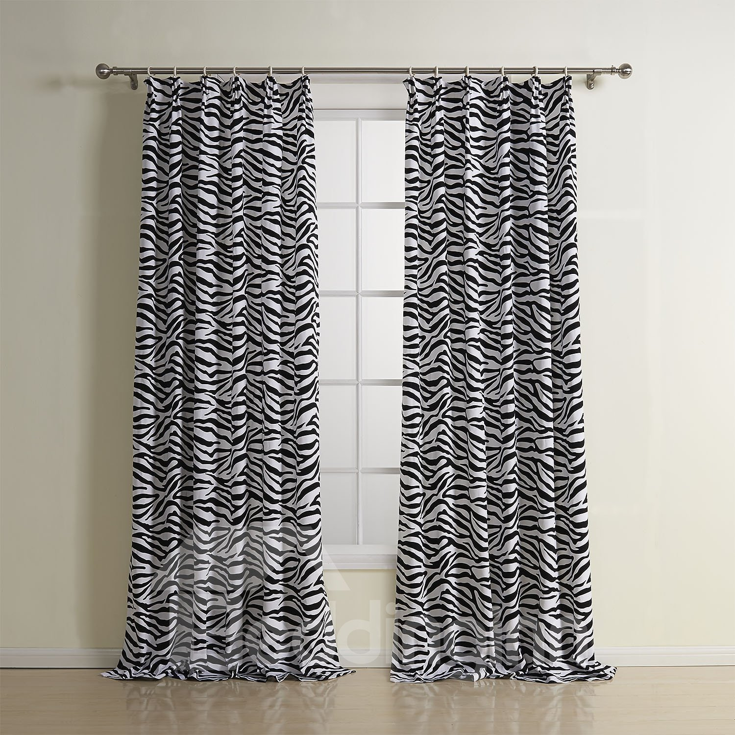 Black and White Block Cotton Double Pinch Pleat Custom Curtain