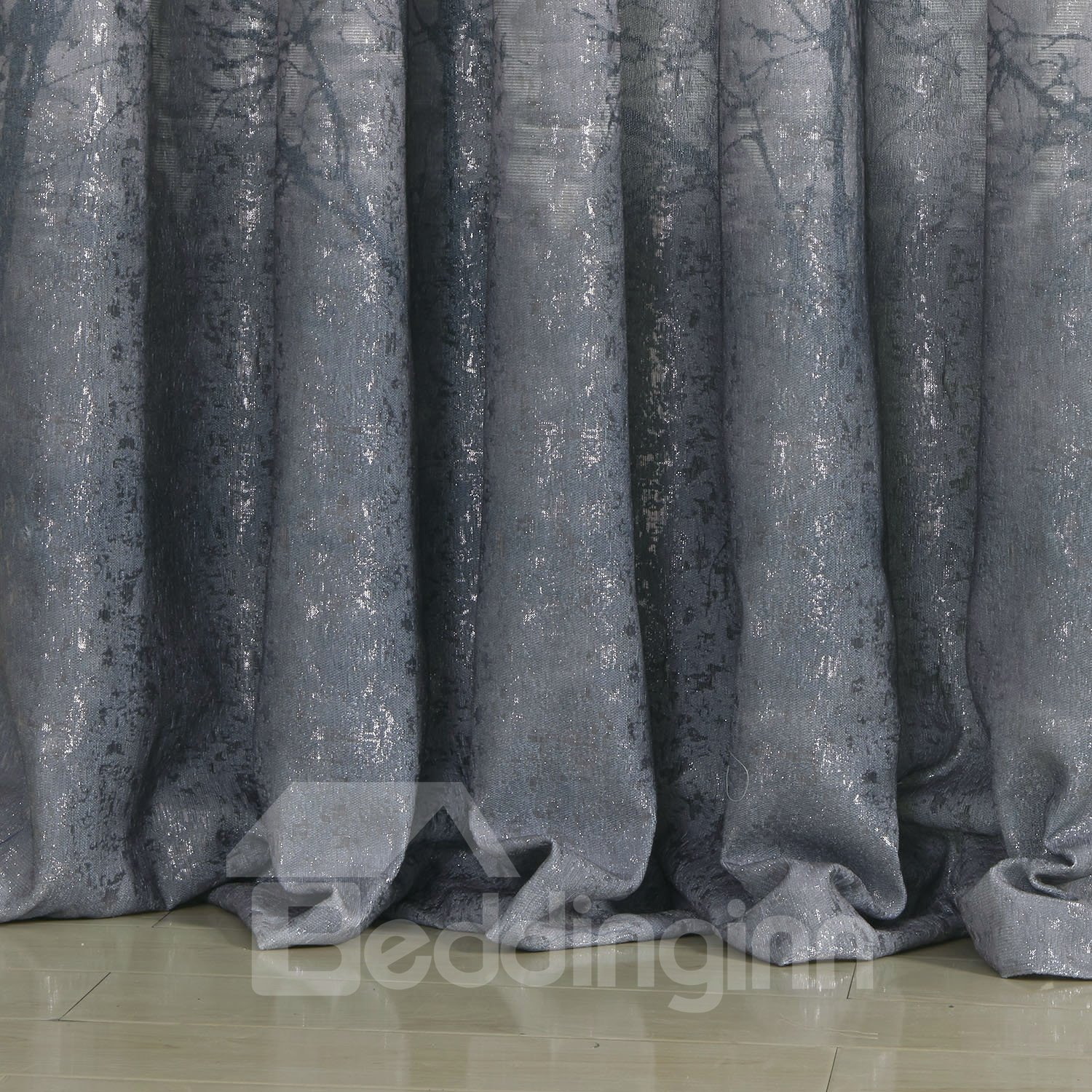 Pastoral Style Wonderful Gray Grommet Top Custom Curtain