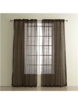 Coffee Hollow Polyester Custom Sheer Curtain