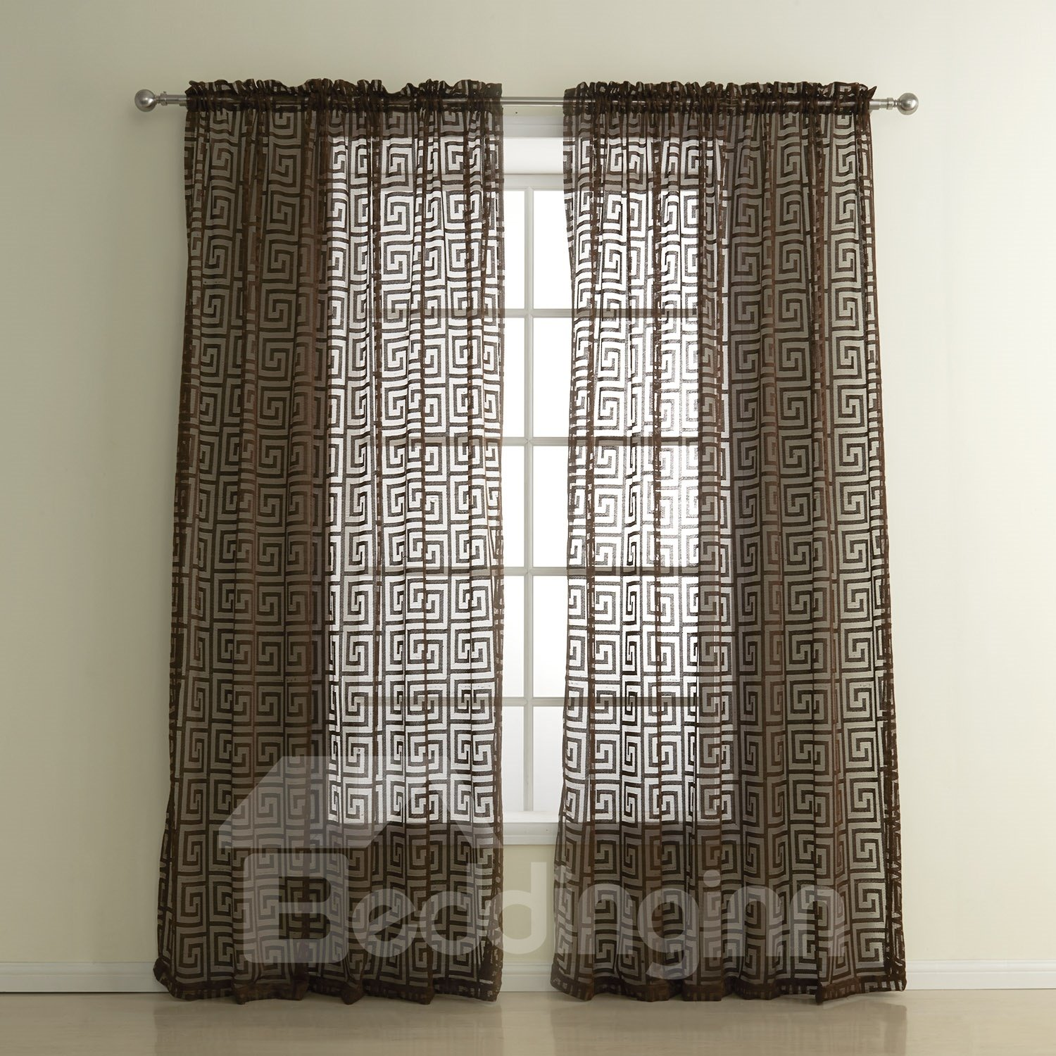Coffee Hollow Polyester Custom Sheer Curtain