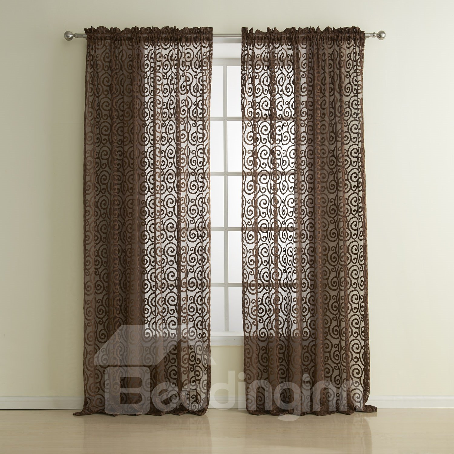 Coffee Two Pieces Classic Wonderful Custom Sheer Curtain